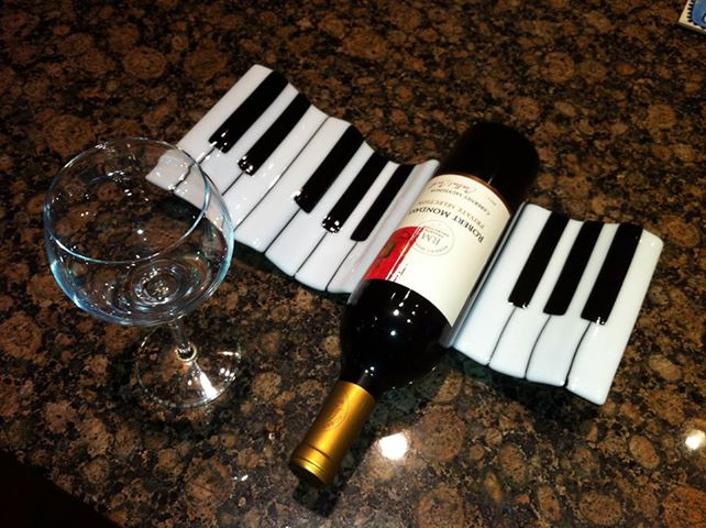 Piano Wine Rack Black and White Fused Glass