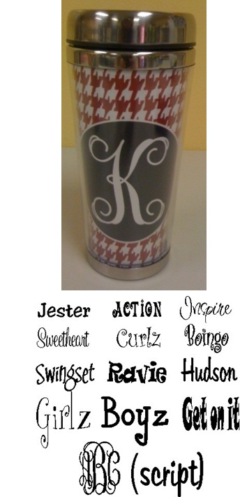 Houndstooth Stainless Steel Tumbler - Personalized / Monogramed