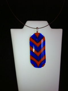 Fused Glass Chevron Pendant Orange and Blue