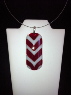Fused Glass Chevron Pendant Red and White