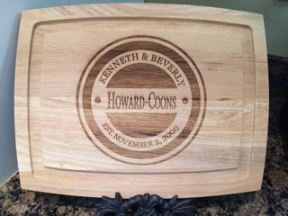 Personalized, Monogrammed Engraved Bamboo Wooden Cutting Board 13x10