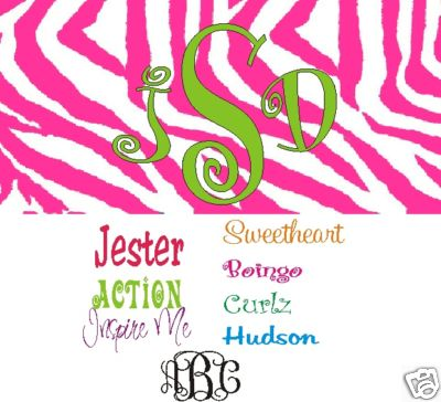 Pink Zebra Monogrammed - Personalized Car Tags