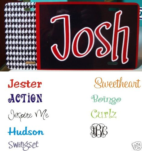Houndstooth (2) Solid Car Tag - Personalized / monogrammed