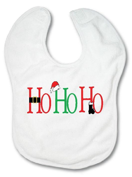 Fleece Baby Bib - HO HO HO