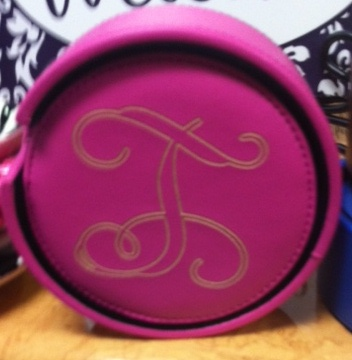 Monogrammed/personalized pink leather round coasters w/holder