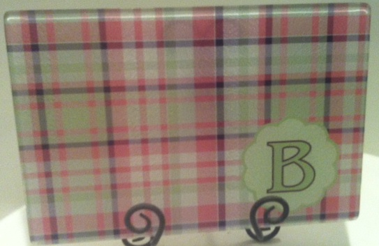 Green and Pink Plaid Glass Cutting Board