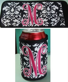 Damask Coozie Beverage Holder - Personalized/Monogrammed