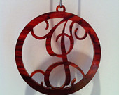 Acrylic Tortoise Shell Vines Font Single Initial Pendant