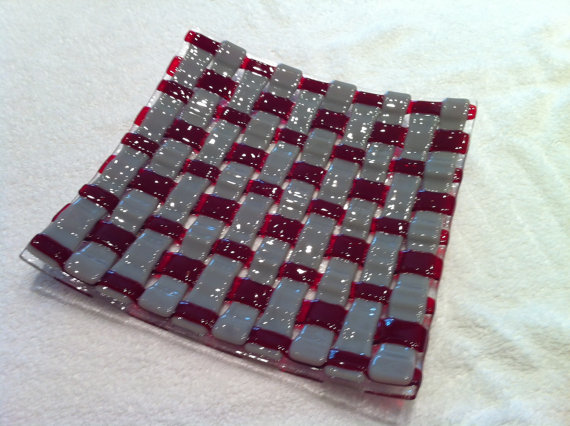 Crimson and Grey Fused Glass Weave Dish