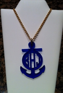 Personalized Monogramed Acrylic Anchor Necklace