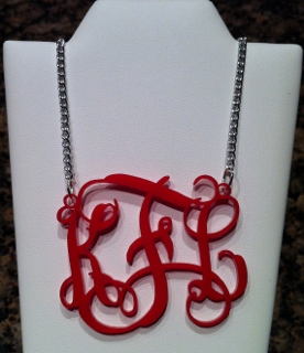 Personalized Monogrammed Acrylic Vines Font Necklace