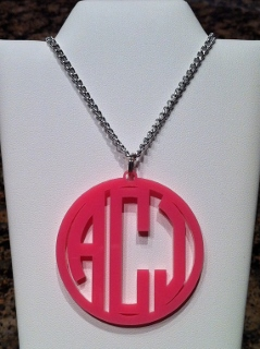 Personalized Monogrammed Acrylic Circle Necklace