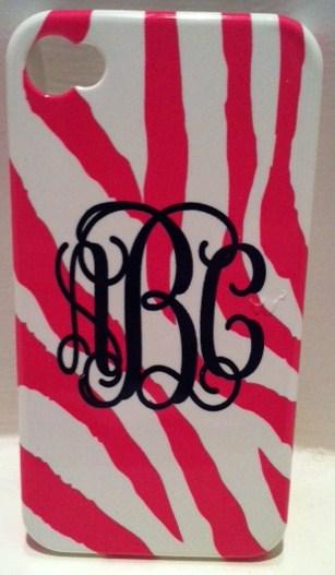 Pink white zebra Iphone case