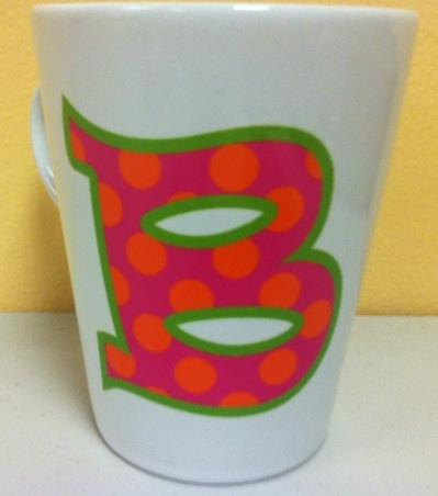 Trendy12 oz  Ceramic Latte/Funnel Mug, Polka dot Print
