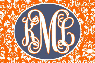 Monogrammed/Personalized car tag/license plate orange damask