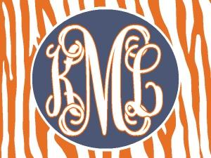 Personalized/Monogrammed orange stripe/oval, car tag/license plate