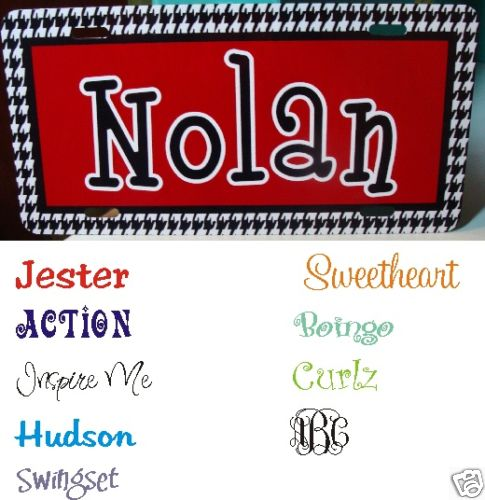 Houndstooth Solid Car Tag - Monogrammed / Personalized