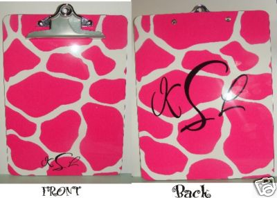 Pink Giraffee Clipboard Monogrammed - Personalized