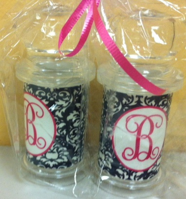 Trendy personalized acrylic salt & pepper shakers w/damask print