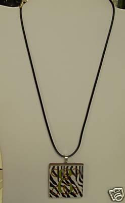 Zebra Ceramic Tile Necklace-Monogrammed/Personalized
