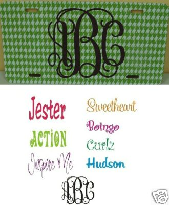 Green Houndstooth Car Tag - Monogrammed - Personalized