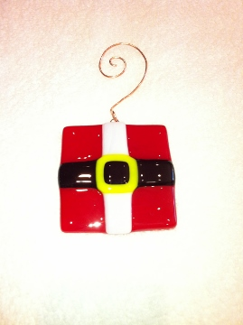 Fused Glass Santa Ornament