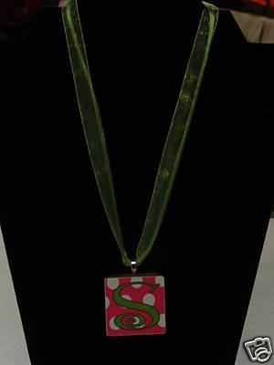 Monogrammed/Personalized POLKADOT Ceramic Tile Necklace