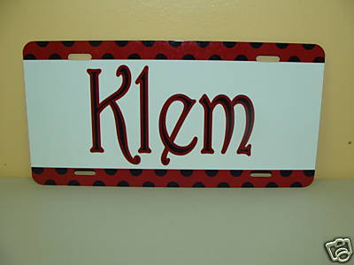 Burgandy/Black dot - Car Tag Monogrammed/Personalized