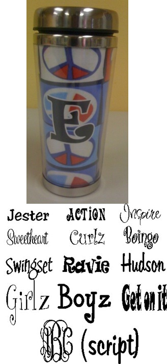 Peace Sign Stainless Steel Tumbler - Personalized / Monogrammed