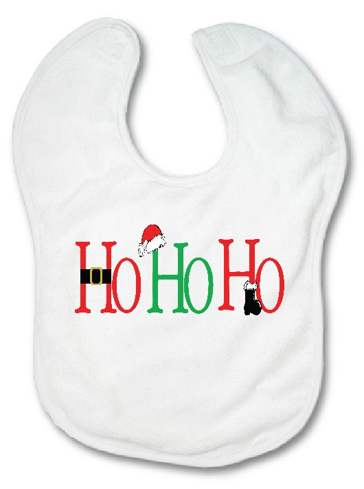 Fleece Baby Bib - HO HO HO