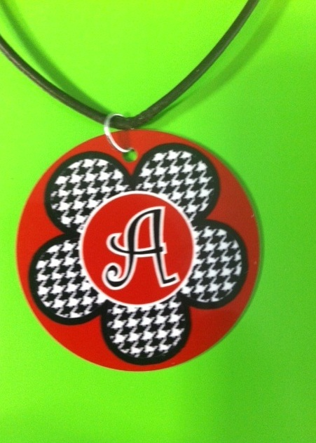 Houndstooth Flower Necklace - Personalized/Monogrammed