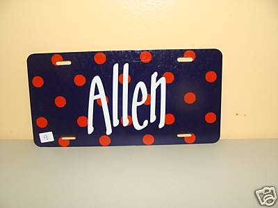 Orange/blue dot - Car Tag--Monogrammed/Personalized
