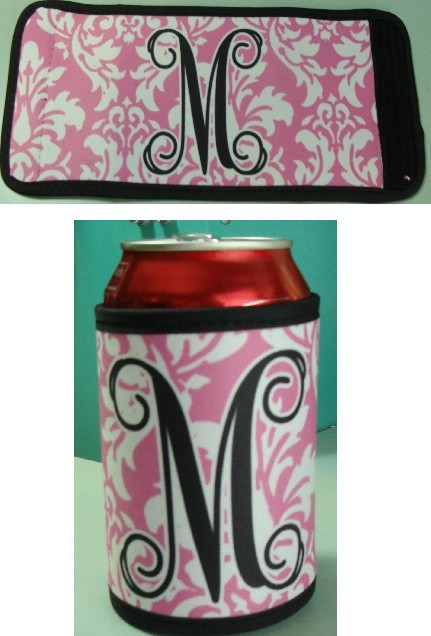 Pink Damask Coozie Beverage Holder