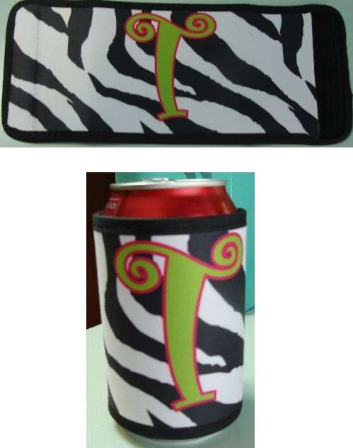 Zebra Stripe Coozie Beverage Holder - Personalized/Monogrammed