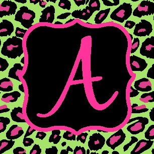 Monogrammed/Personalized coasters, cork back, cheetah, lime, pink, black