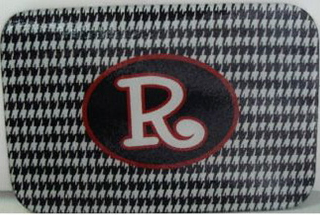Monogrammed/Personalized Tempered glass cutting board; Houndstooth Print