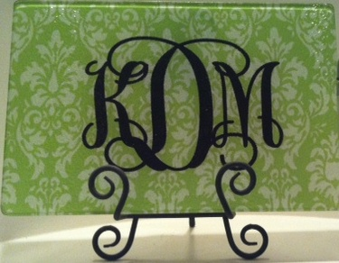 Green and White Damask Glass Cutting Board
