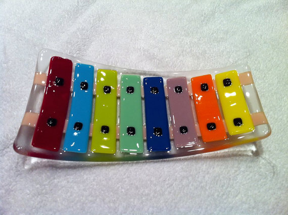 Xylophone Fused Glass Plate