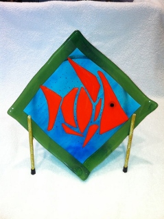 Tribal Fish Fused Glass 10 inch Plate