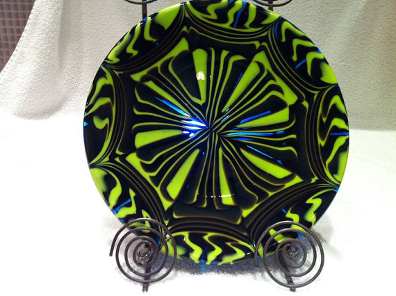 Spring Green and Turquoise Pattern Bar Melt Plate