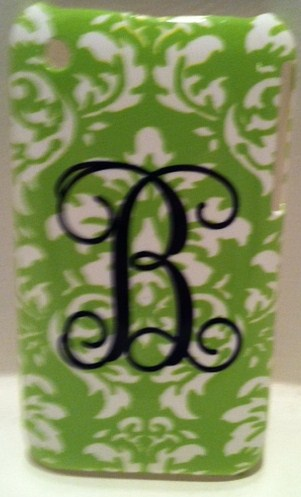 Line Green & white damask Iphone case