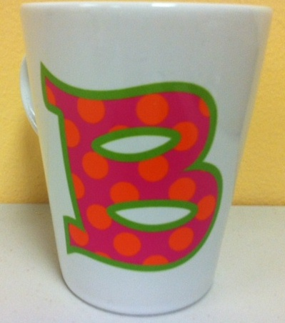 Trendy12 oz  Ceramic Latte/Funnel Mug, Polka dot Print