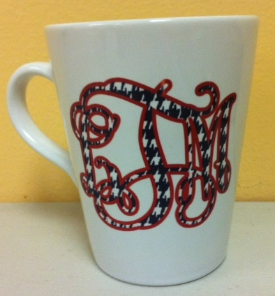 Trendy12 oz  Ceramic Latte/Funnel Mug, Houndstooth print