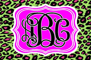 Monogrammed personalized car tag/license plate cheetah green pink print