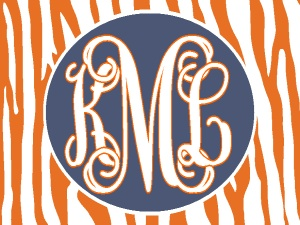 Personalized/Monogrammed orange stripe/oval, car tag/license plate