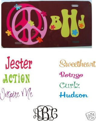 Peace Sign Car Tags