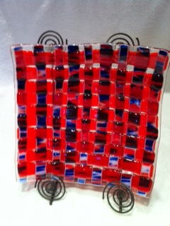 Fused WovenRed White and Blue Plate