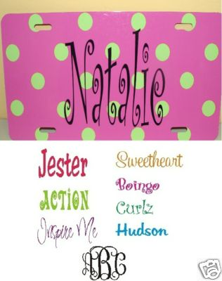 Pink and Green POLKA DOT Car Tag  Monogrammed - Personalized