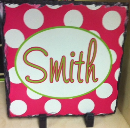 Trendy personalized slate products polka dot collection