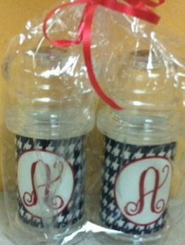 Trendy personalized acrylic houndstooth salt & pepper shakers